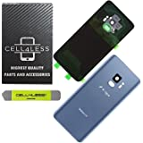 CELL4LESS Compatible Back Glass Cover Back Door w/Pre-Installed Camera Frame l Adhesive - Removal Tool - Camera Lens & Frame