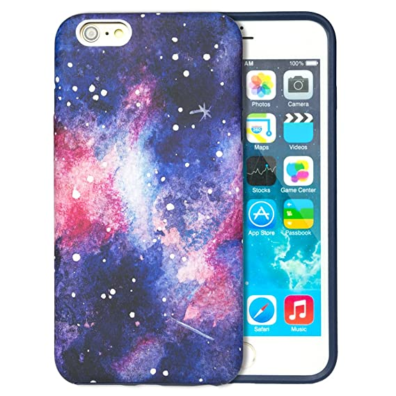 sale retailer 5a12c b332b Dimaka iPhone 6S Plus Case, Starry Milky Way Inked Pattern Hybrid 2 Layers  Rugged Case [Matt Surface] [Anti Scratch] with Prime Vintage Design Slim ...