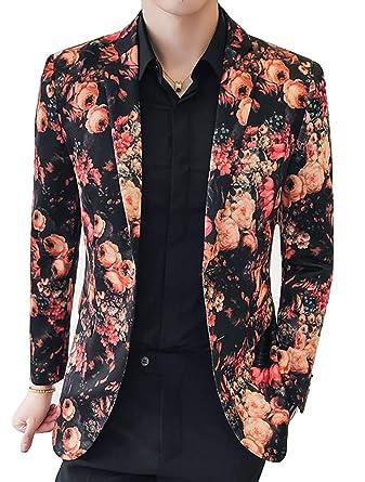 À Fleurs Floral Classique De Homme Blazer Costume Veste Pour XxTY77