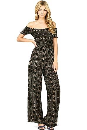 b53b44e7548 Amazon.com  Iris Apparel Women s Juniors Bohemian Print Off Shoulder Wide  Leg Jumpsuit (L