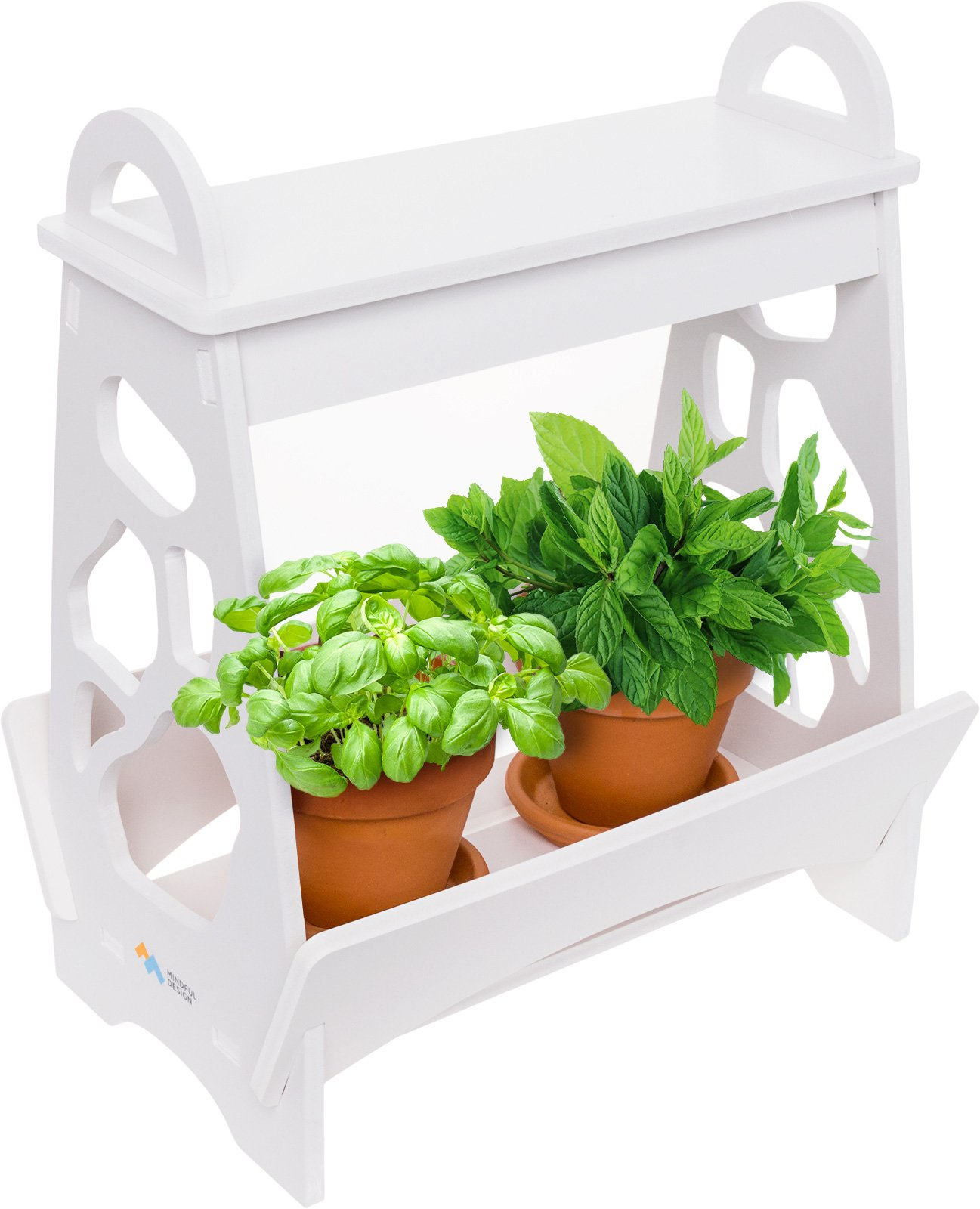 Mindful Design LED Indoor Herb Garden - At Home Mini Planter Kit for Herbs, Succulents, and Vegetables by (White)