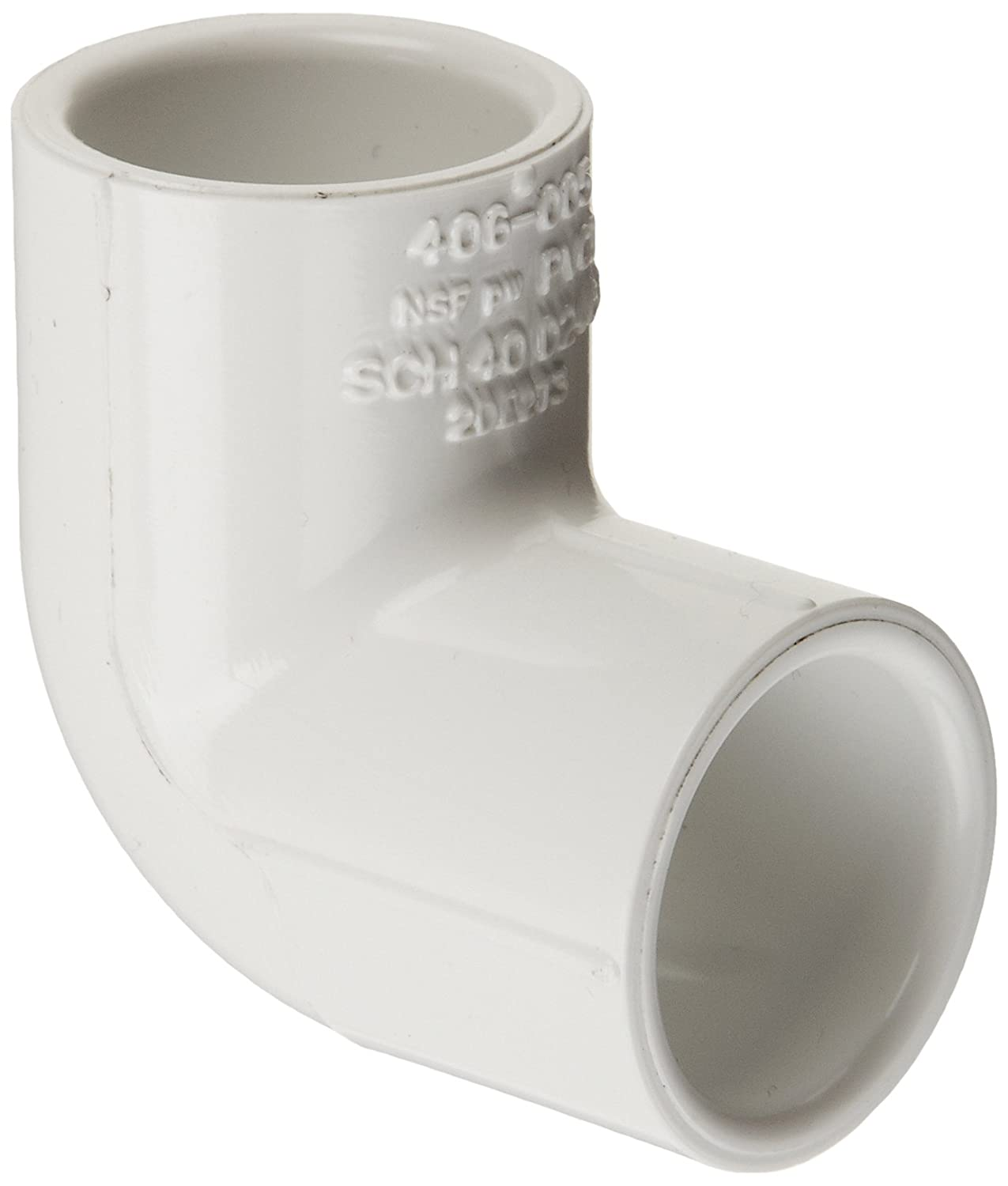 Spears 406 Series PVC Pipe Fitting, 90 Degree Elbow, Schedule 40, White, 1-1/2 x 1 Socket 1-1/2 x 1 Socket Spears Manufacturing