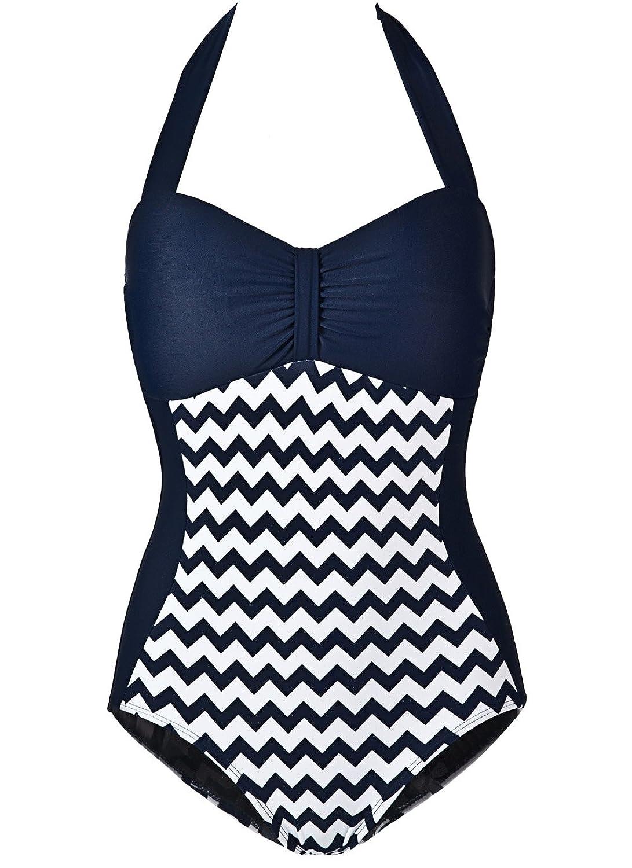 Womens Vogue 50s Retro Style Monokinis One Piece Swimsuit Us 0-1 Blue