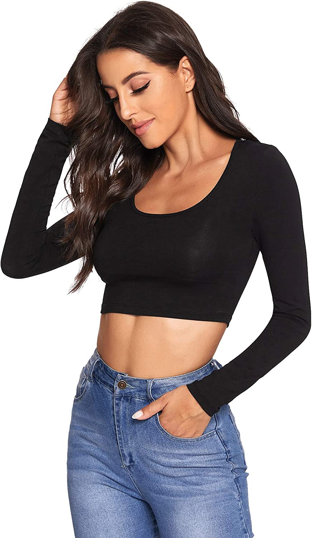 Verdusa Women's Scoop Neck Long Sleeve Crop Tee Top