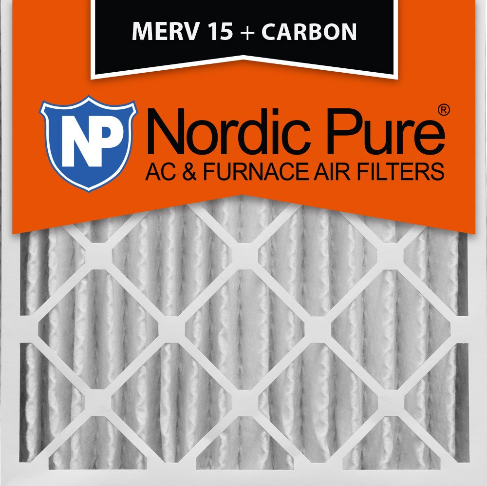 MERV 15 Plus Carbon Pleated AC Furnace Air Filters 16x25x4M 2 Pack Nordic Pure 16x25x4 3-5//8 Actual Depth