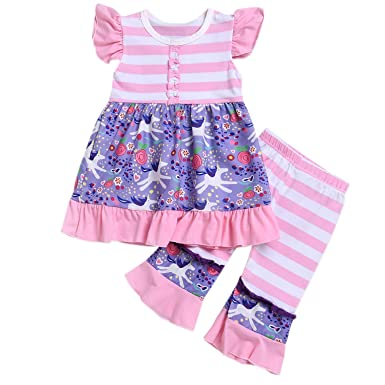 b2e8d139a8e3c 2Pcs Set Toddler Kids Outfit Unicorn Ruffle Sleeveless Top+Leggings Pants  Summer Clothes (1-6 Years)