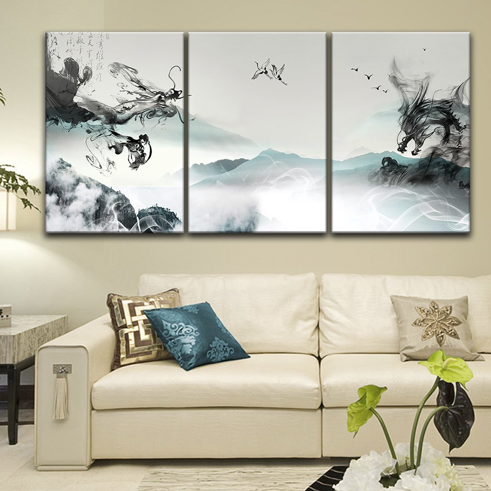 "wall26-3 Panel Canvas Wall Art - Chinese Ink Painting Style Landscape with Dragon-Like Ink Splash - Giclee Print Gallery Wrap Modern Home Decor Ready to Hang - 24""x36"" x 3 Panels"