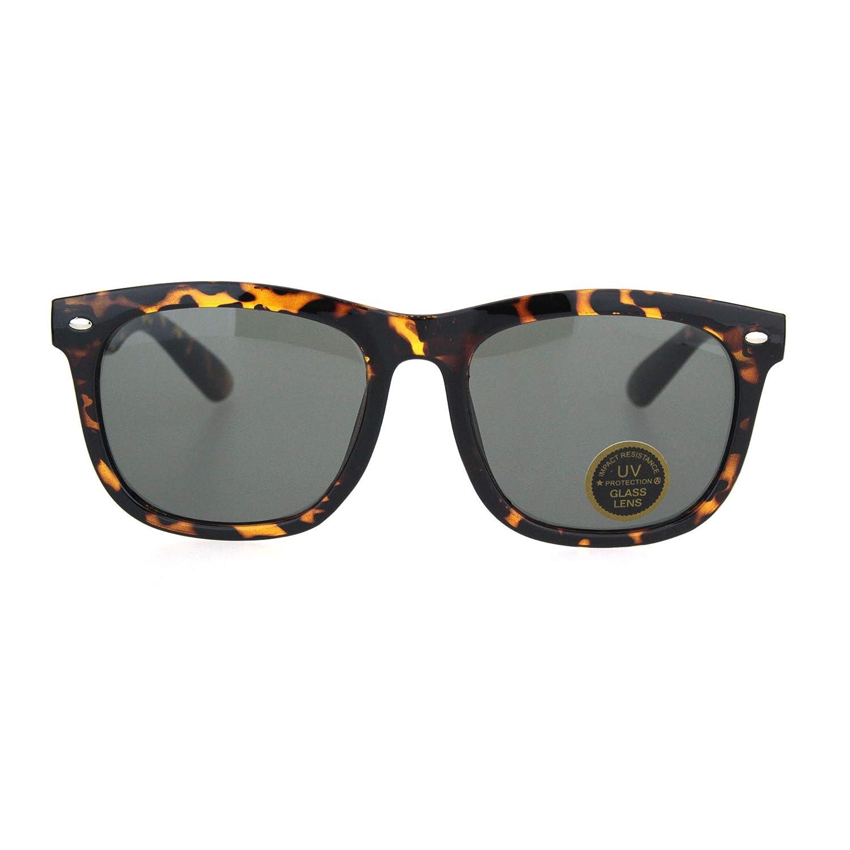 Mens Vintage Tempered Glass Lens Oversize Nerdy Horn Rim Sunglasses