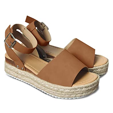 c53b9c8486b7 LAICIGO Women's Flatform Espadrilles Ankle Strap Buckle Open Toe Faux  Leather Studded Wedge Summer Sandals