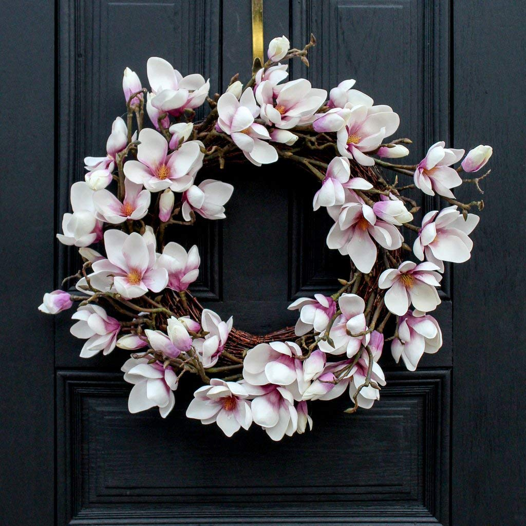 Darby Creek Trading Japanese Lavender Magnolia Flower Branch Everyday Spring Wreath