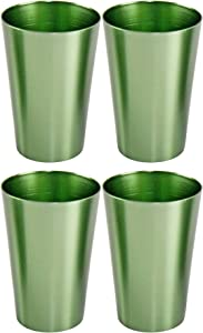 HOME-X Colorful Aluminum Drinking Cups Set of 4, Colored Metal Tumblers, Shatter Resistant, Stackable, Metallic Green