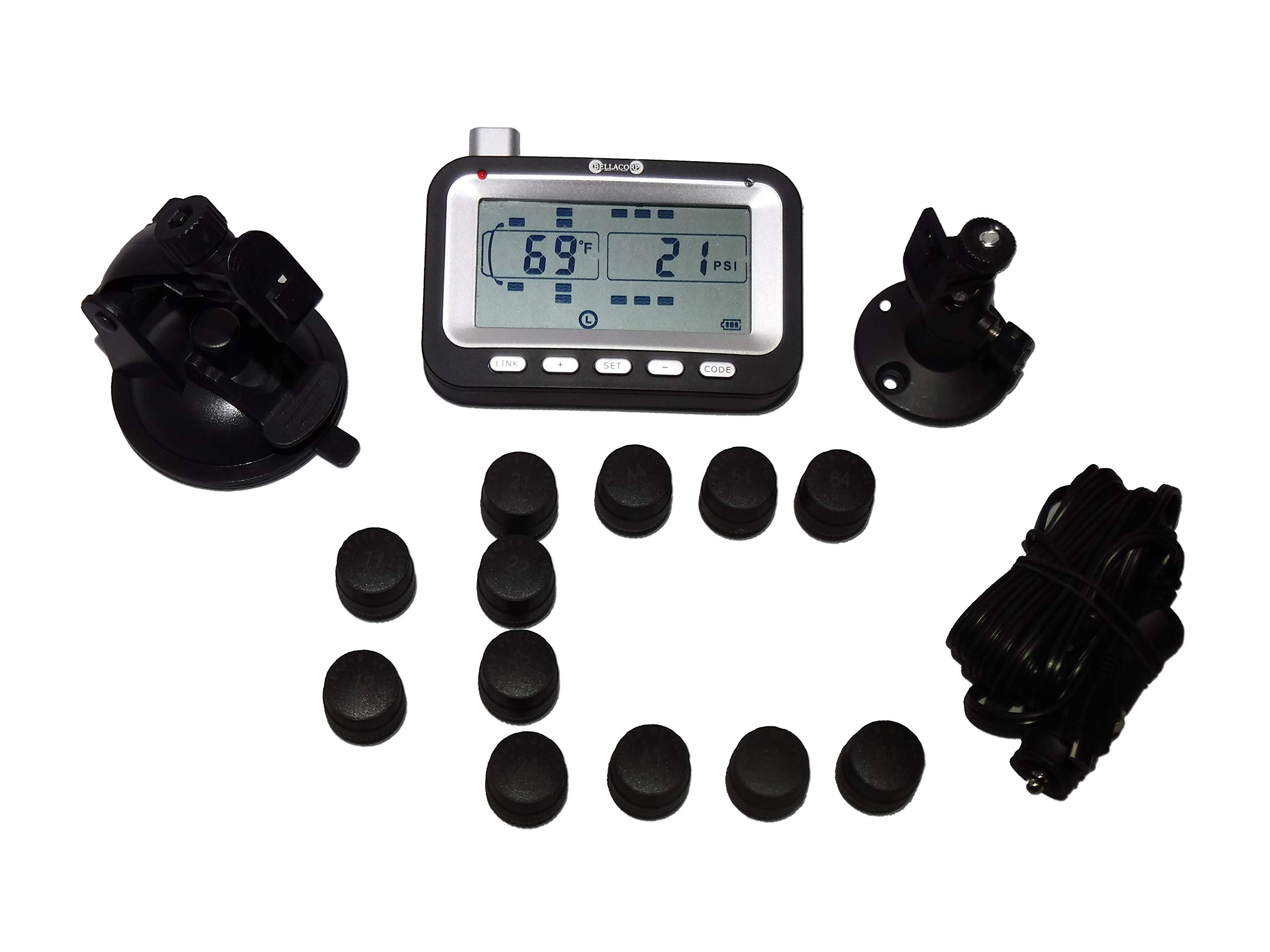 BELLACORP Tire Pressure Monitoring System TPMS Twelve (12) Sensors for Heavy Truck with Dually Axle Hauling a Triple Axle Fifth Wheel, Trailer, Toy Hauler, or Box Trailer