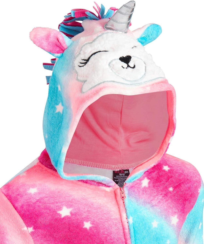 dELiAs Girls Thermal Onesie Pajamas with Sherpa Lined Hood