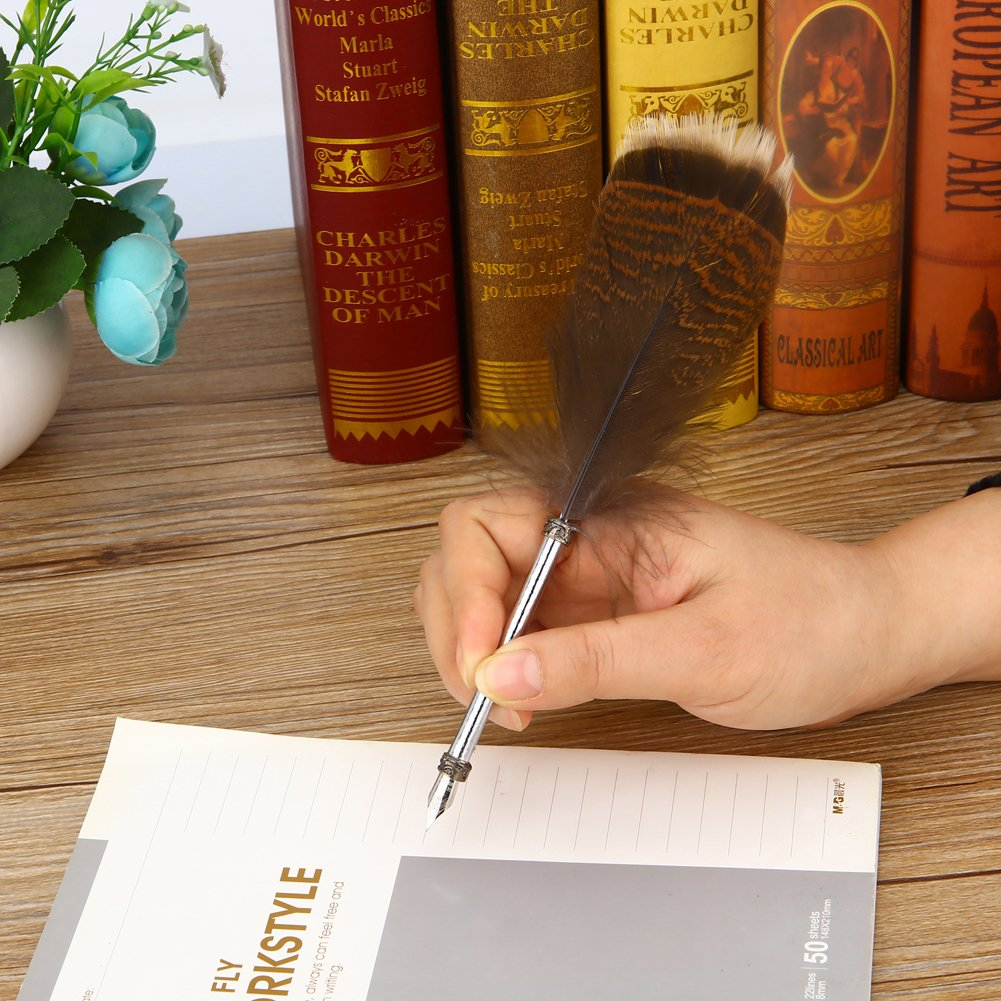 Harry Potter Feather Quill Pen with Ink Set Feather Dip Pen Antique Calligraphy Writing Quill Pen Gift Set for Kids Friend Birthday Christmas Gift Set by YOCOM (Image #2)