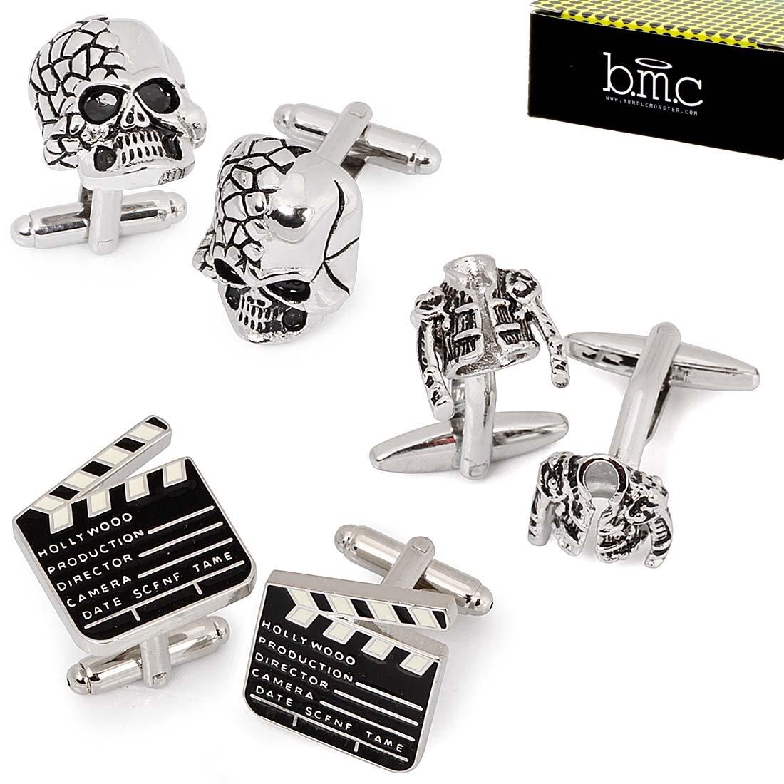 BMC 3 Pair Trendy Silver Colored Mens Cufflinks Set - Pop Star Jackets Skulls Movie Markers by b.m.c (Image #1)