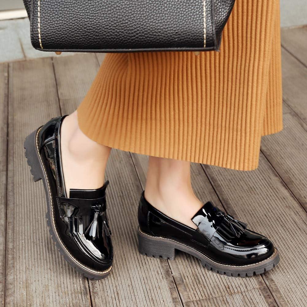 wealsex Mocassins Femme Cuir Vernis Bout Ronde Noir Bordeaux Chaussures de Ville Bateau Bureau Derby /à Franges