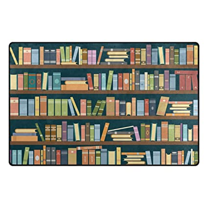 WOZO Cartoon Bookshelf Bookworm Area Rug Rugs Non Slip Floor Mat Doormats Living Room Bedroom