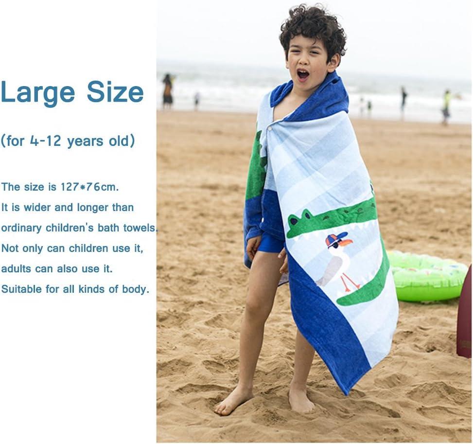 Gogokids algod/ón absorbente 100/% algod/ón Toalla de playa con capucha para ni/ños y ni/ñas albornoz de ba/ño para ni/ños surfear talla /única para nadar azul
