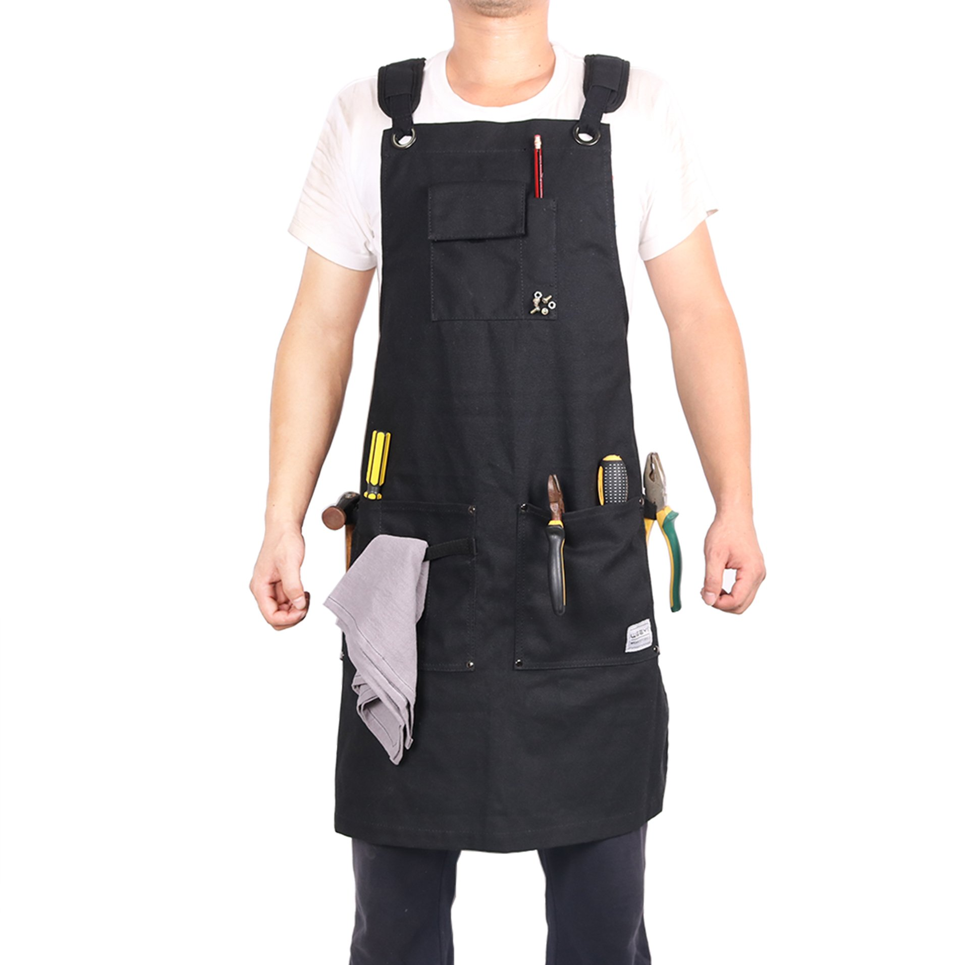 Weeyi Heavy Duty Waxed Canvas Workshop Apron With Cross Back Strap for Women and Men in Black Color Fits for Small to XXL … by Weeyi