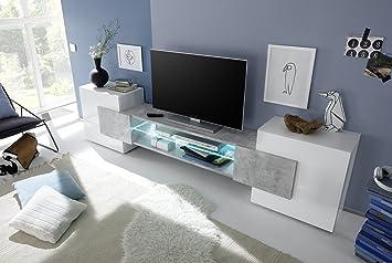 Mobile Porta tv Moderno Bianco Lucido Effetto Cemento Soggiorno ...