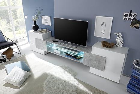 Soggiorno Porta Tv.Arredocasagmb It Mobile Porta Tv Moderno Bianco Lucido Effetto Cemento Soggiorno Inserto