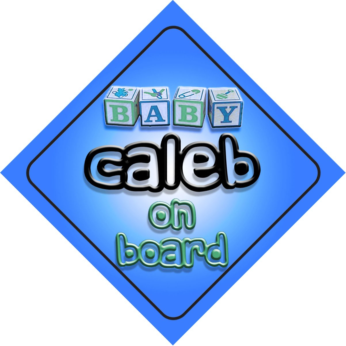 Baby Boy Caleb on board novelty car sign gift / present for new child / newborn baby by mybabyonboard UK   B008D1ED1K
