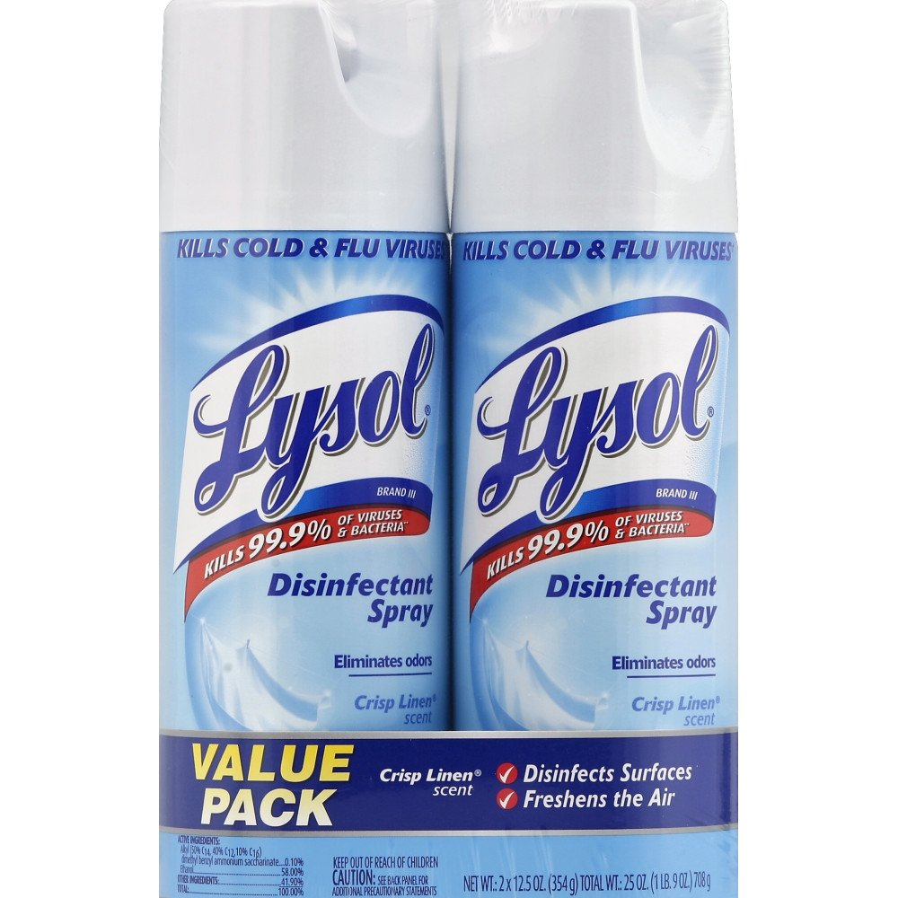 Lysol Disinfectant Spray, Crisp Linen Scent, Twin Pack, 2 x 12.5 oz