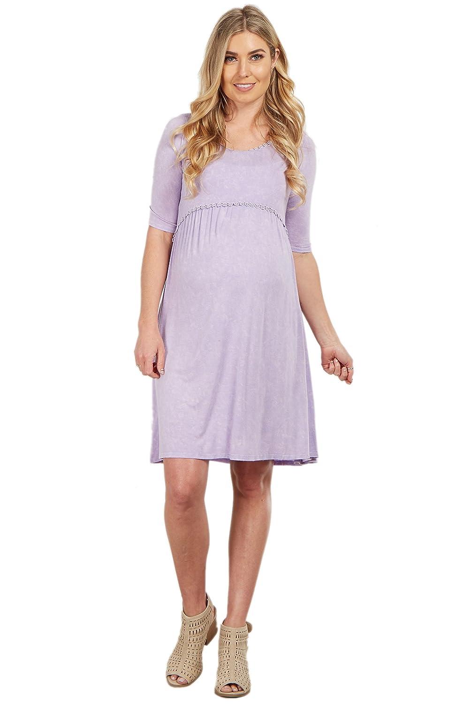 6e04a10137 PinkBlush Maternity Faded Crochet Trim Shift Dress at Amazon Women s  Clothing store