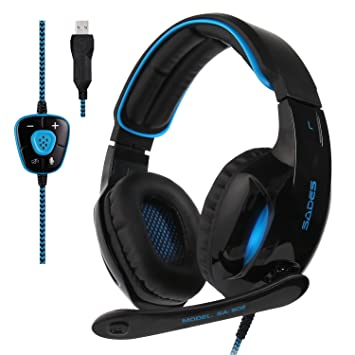 Wired Virtual 7.1 Channel Surround Sound Gaming Headset Stereo LED Headphone US
