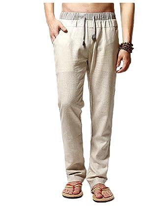 3e607d4fb1 Men's Linen Comfortable Breathable Casual Pants Trousers Elastic Waist  Drawstring at Amazon Men's Clothing store:
