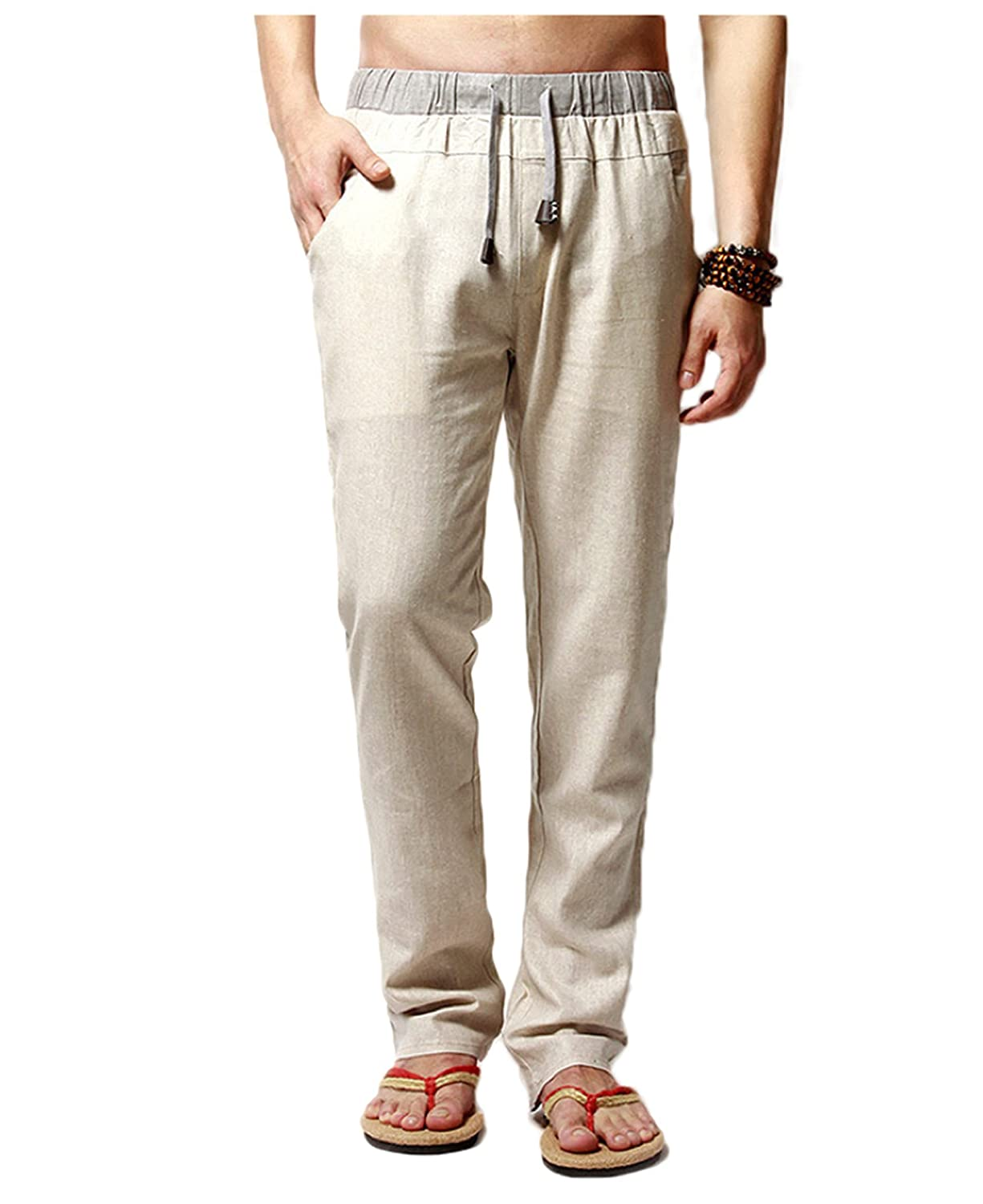 Men's Linen Comfortable Breathable Casual Pants Trousers Elastic Waist Drawstring