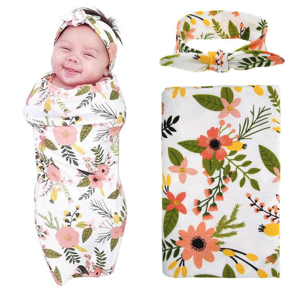 Photo Prop Swaddle Blanket and Hat Newborn Baby Shower Gift Floral Swaddle Set Newborn Girl Orange Rose Swaddle Set Neutral Swaddle Set