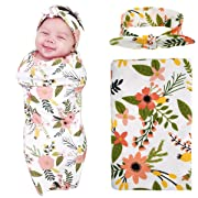 Newborn Baby Swaddle Blanket and Headband Value Set,Receiving Blankets, Orange Daisy