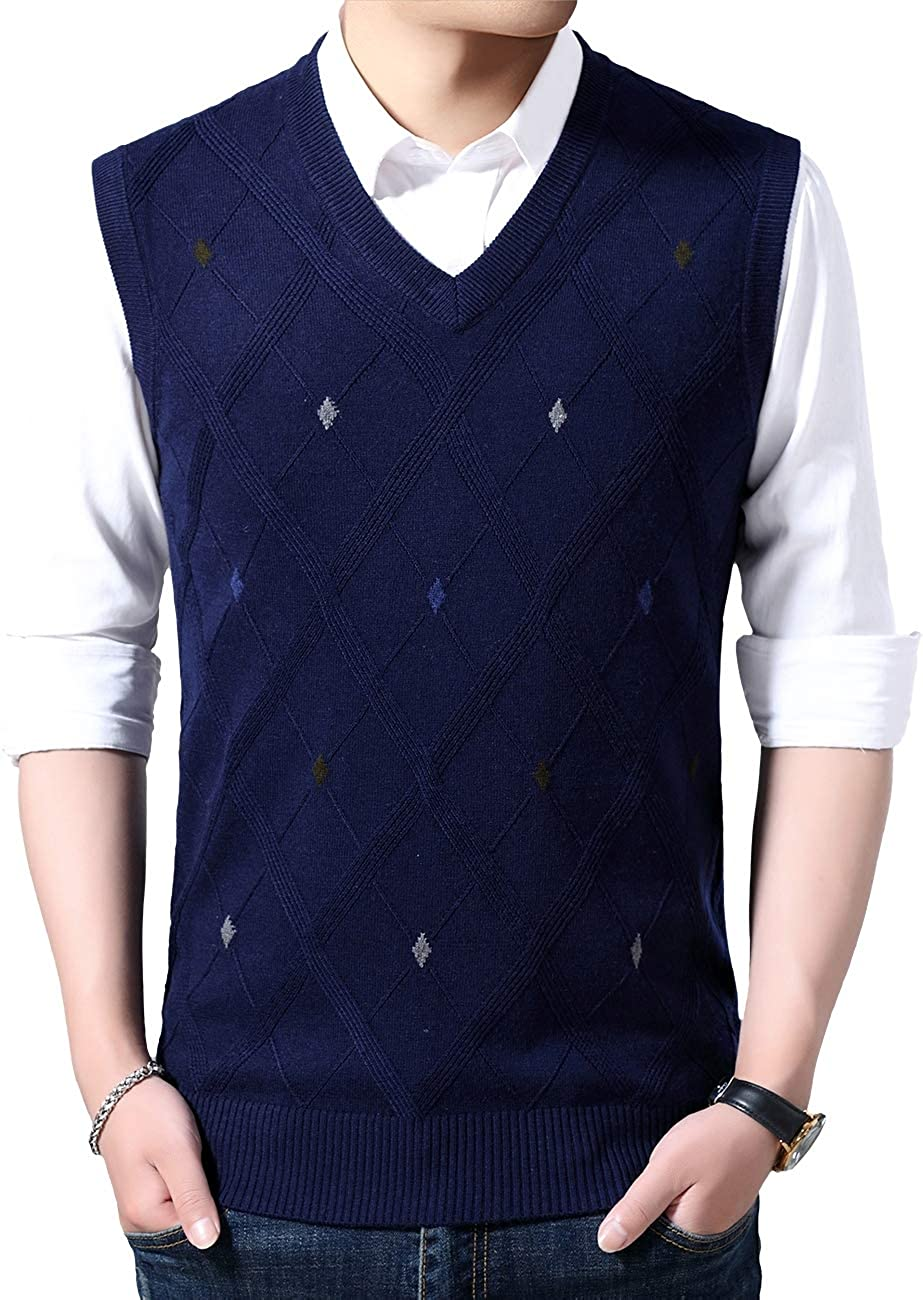 Moren Classic Mens V-Neck Wool Sleeveless Jumper Vest Autumn Winter Warm Knitted Gilet Slipover Waistcoat Sweater Tank Tops
