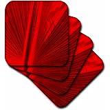 3dRose Fan in Red Coaster, Soft, Set of 8