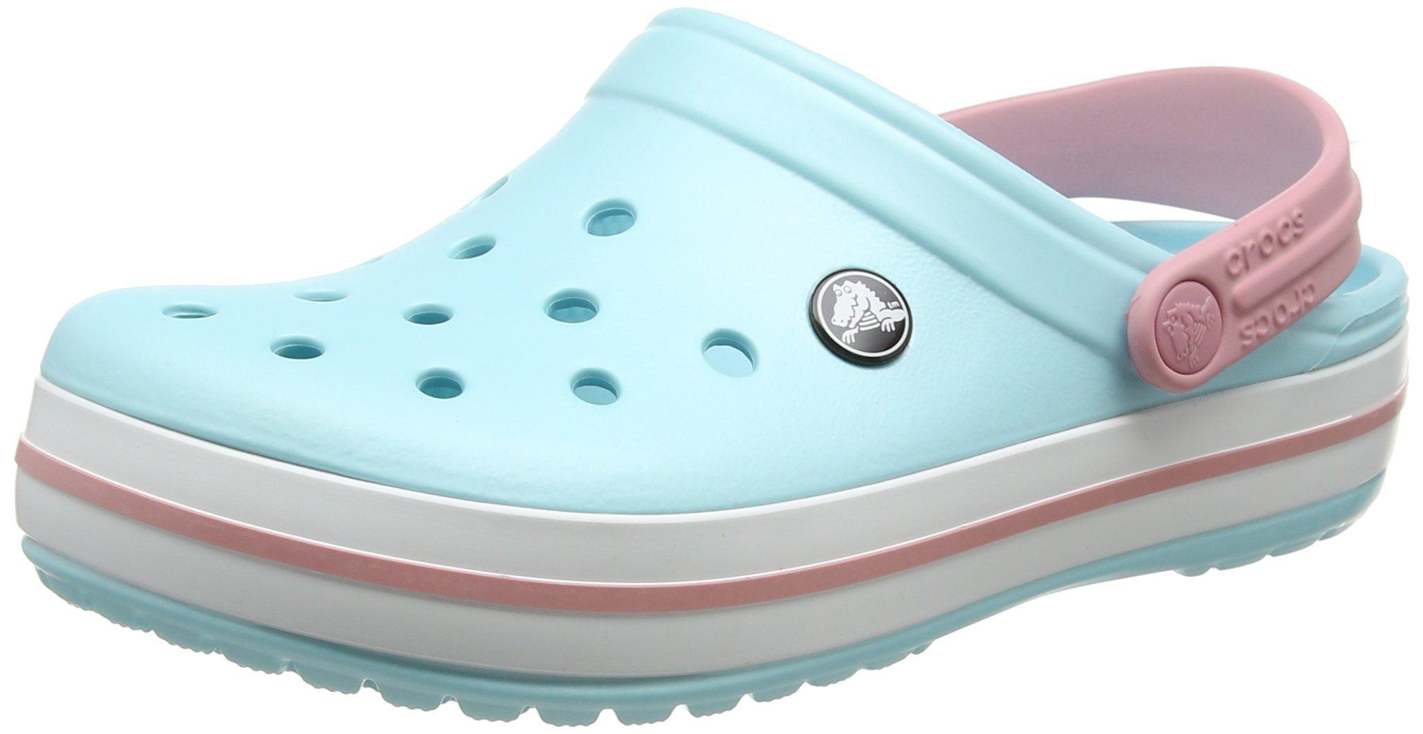 Crocs Unisexs Crocband Clog, Ice Blue/White,6 US Men / 8 US Women