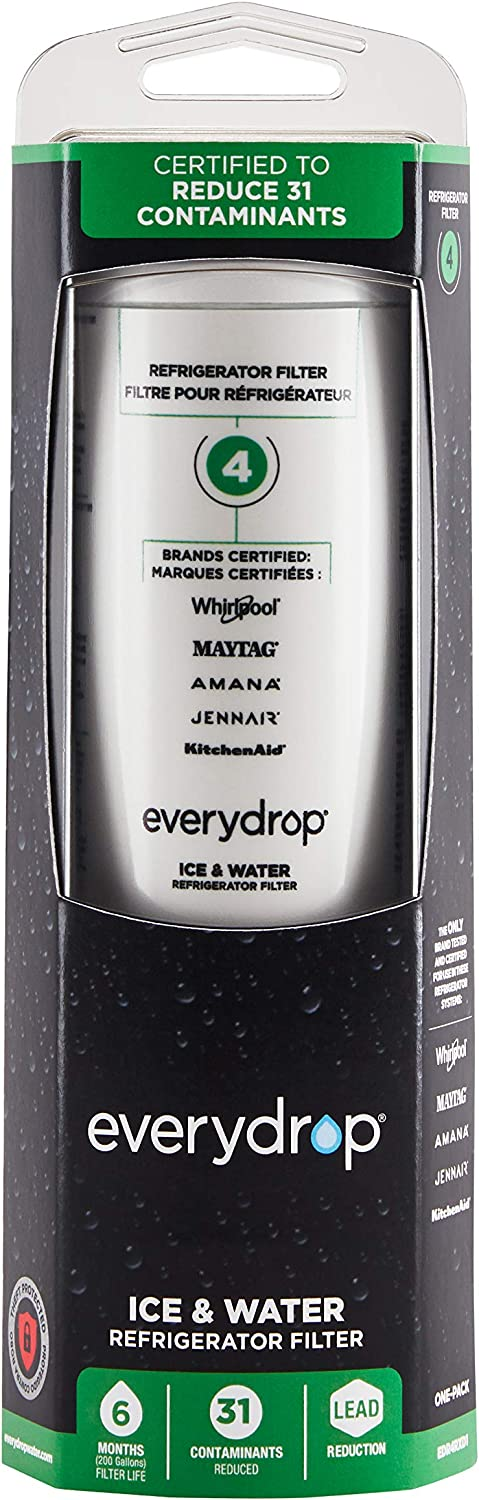 EveryDrop by Whirlpool Refrigerator Water Filter 4 (Pack of 1, Packaging may vary)