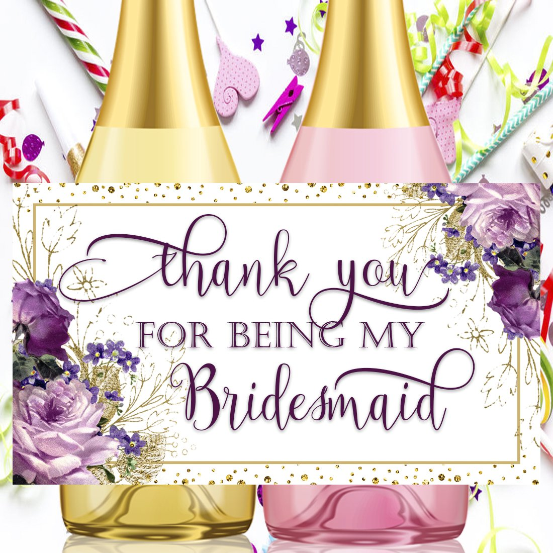 Thank you Bridesmaid Wine Bottle Labels, Wedding Party Wine Labels, Mini Champagne Wine Labels