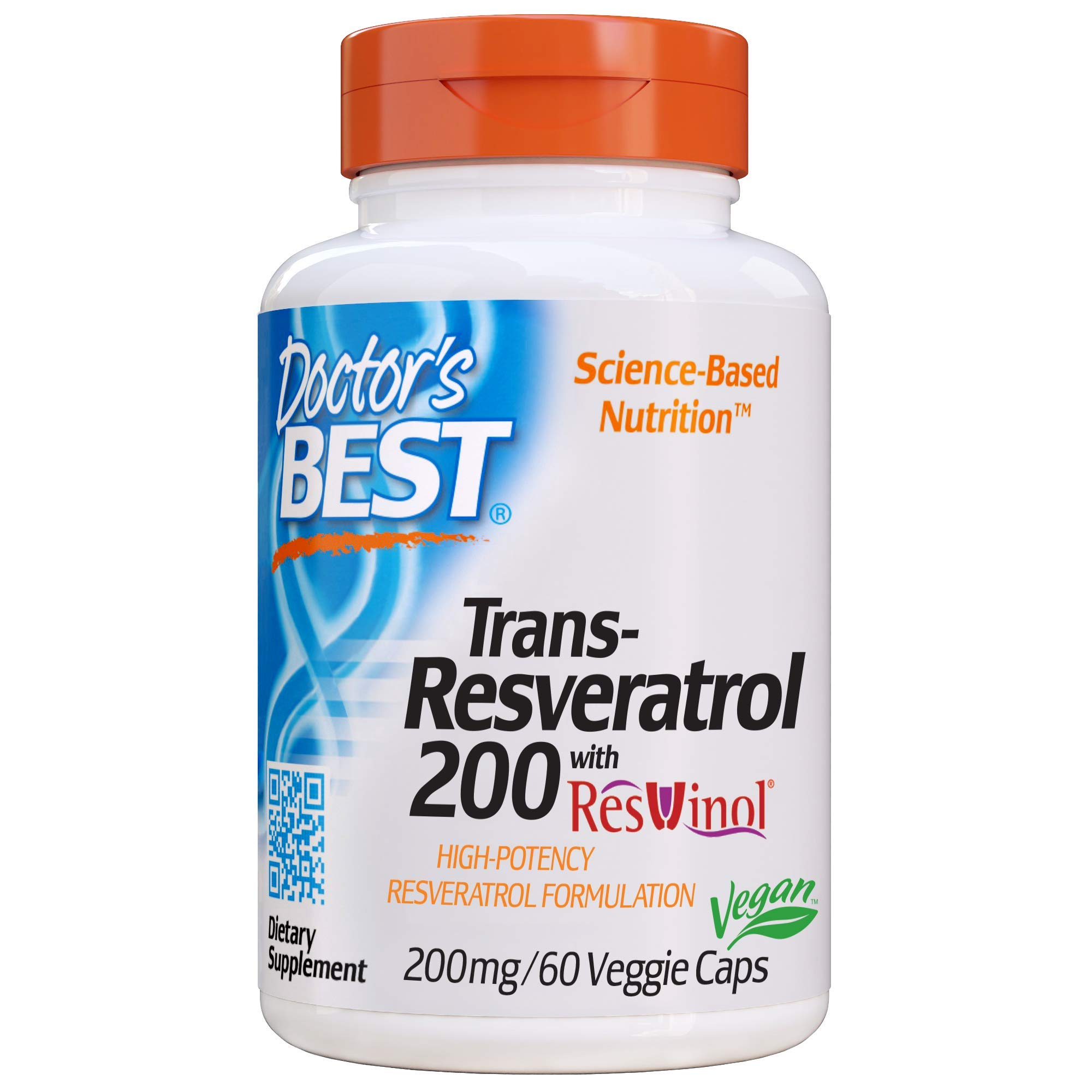 Doctor's Best, Trans-Resveratrol with ResVinol, Non-GMO, Vegan, Gluten Free, Soy Free, 200 mg, 60 Veggie Caps by Doctor's Best