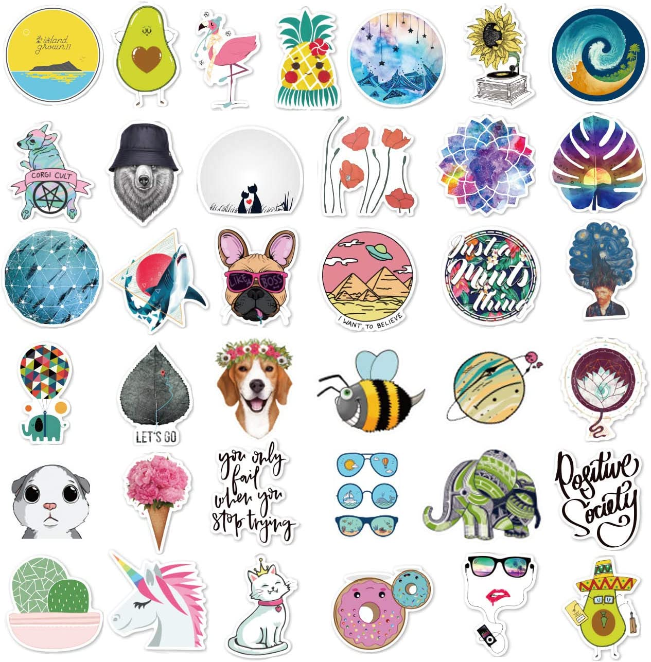 Cute Stickers(105Pcs),Laptop and Water Bottle Decal Aesthetic Sticker Pack for Teens, Girls, Women Vinyl Stickers