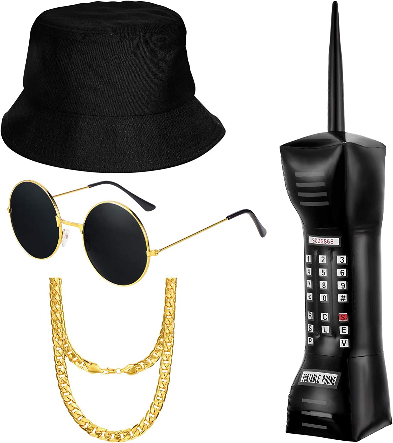 meekoo 80s/90s Boys Hip Hop Costume Kit 90s Rapper Outfits Costume Accessories, Inflatable Mobile Phone Bucket Hat Sunglasses Faux Gold Chain