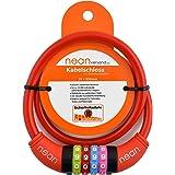 Nean, cavo spiralato con lucchetto per la bicicletta dei bambini, serratura a combinazione numerica, colorato, 10x 650mm