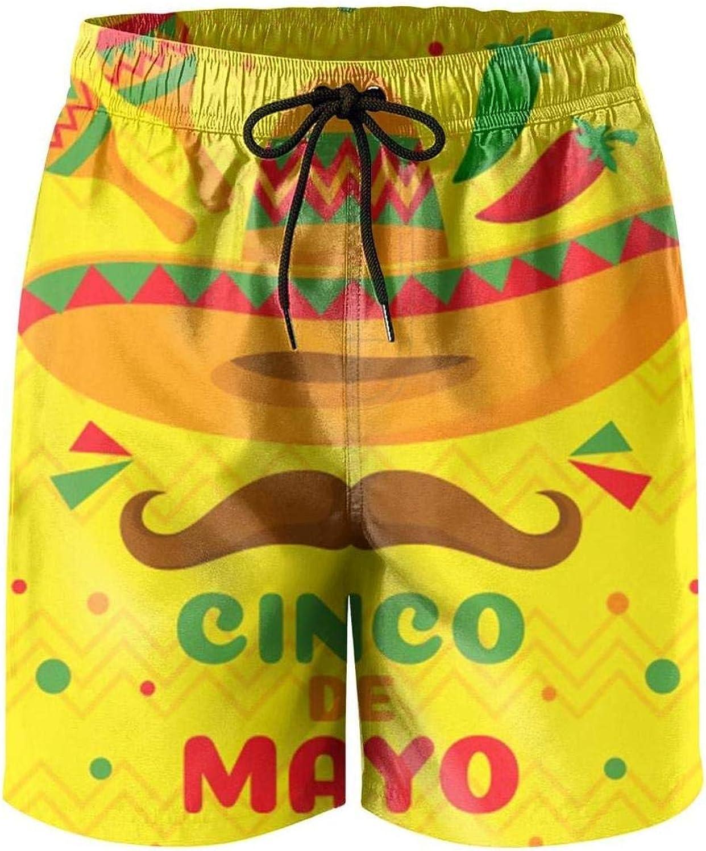 FullBo Cinco de Mayo DTF Down to Fiesta Black Mens Swim Trunks Quick Dry Beach Shorts