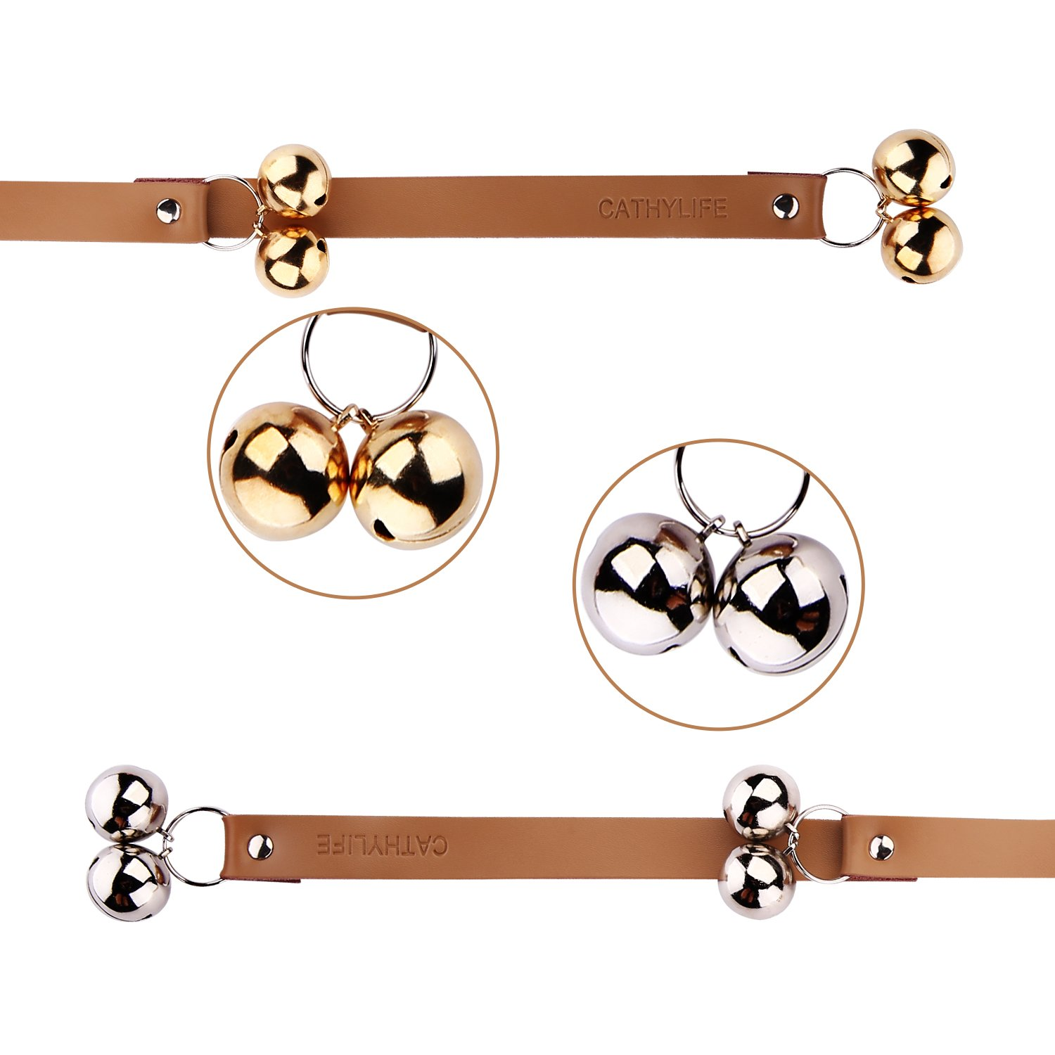 Brown Leather Strap Dog Doorbells, Golden and Silver Bells, Adjustable Length, Potty Training and Housebreaking, Communicate With Your Pet.