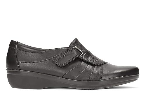 Clarks Las Mujeres del Monje De Velcro Zapatos de cuña Everlay Luna Negro Piel: Amazon.es: Zapatos y complementos