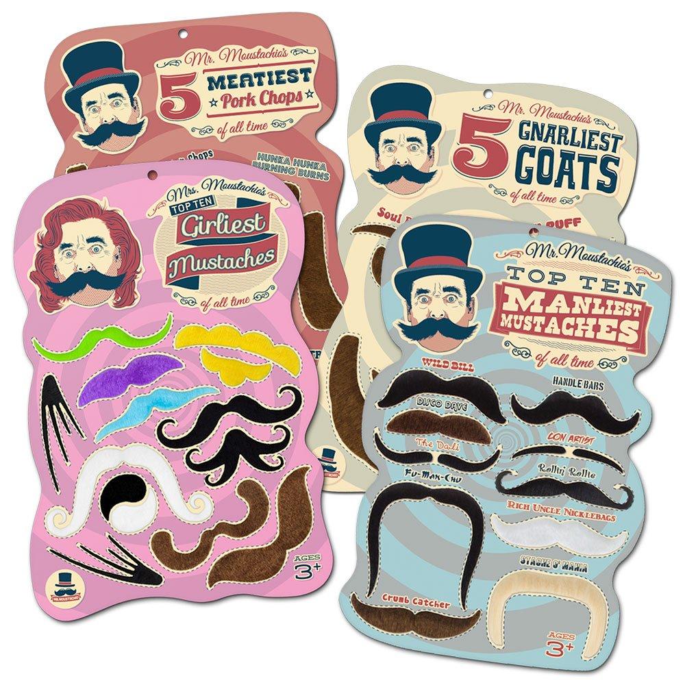 Mr. Moustachio's Facial Hair Four Pack: Top Ten Manliest, Girliest, Gnarliest, and Meatiest Facial Hair, Beard, and Mustache Assortment!