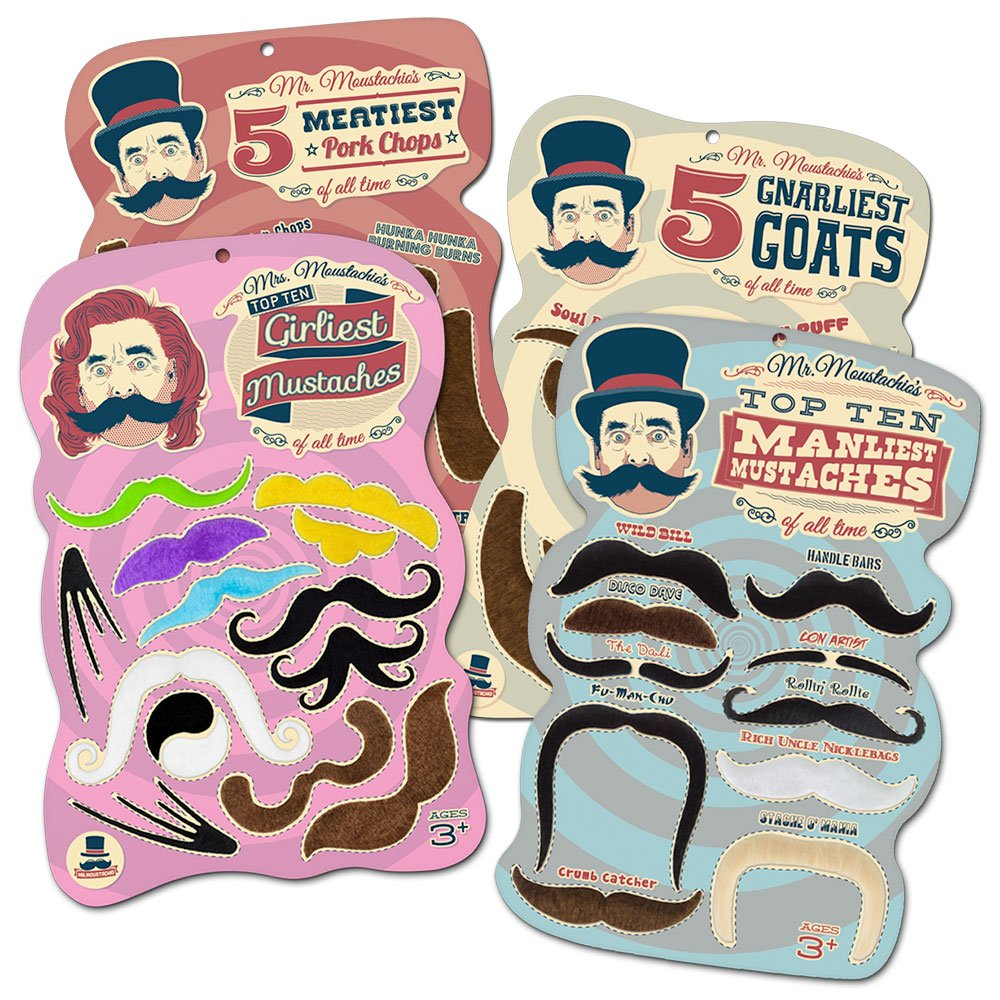 Mr. Moustachios Facial Hair Four Pack: Top Ten Manliest, Girliest, Gnarliest,