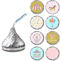 Carousel Label for HERSHEY'S KISSES® chocolates - Birthday Baby Shower Party Stickers - Set of 240