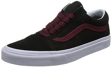 d80e7b49718c5 Vans Unisex Adults' Old Skool Trainers, Black ((Oversized Lace) Black/Port  Royale R0V), 7.5 UK 41 EU