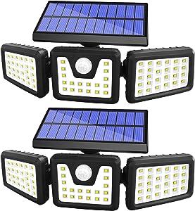 Solar Lights Outdoor Motion Sensor, 3 Adjustable Heads Solar Motion Sensor Light Outdoor, Security Lights 270° Wide Angle IP65 Waterproof Flood Lights for Porch Garden Patio Yard Garage, 2 Pack